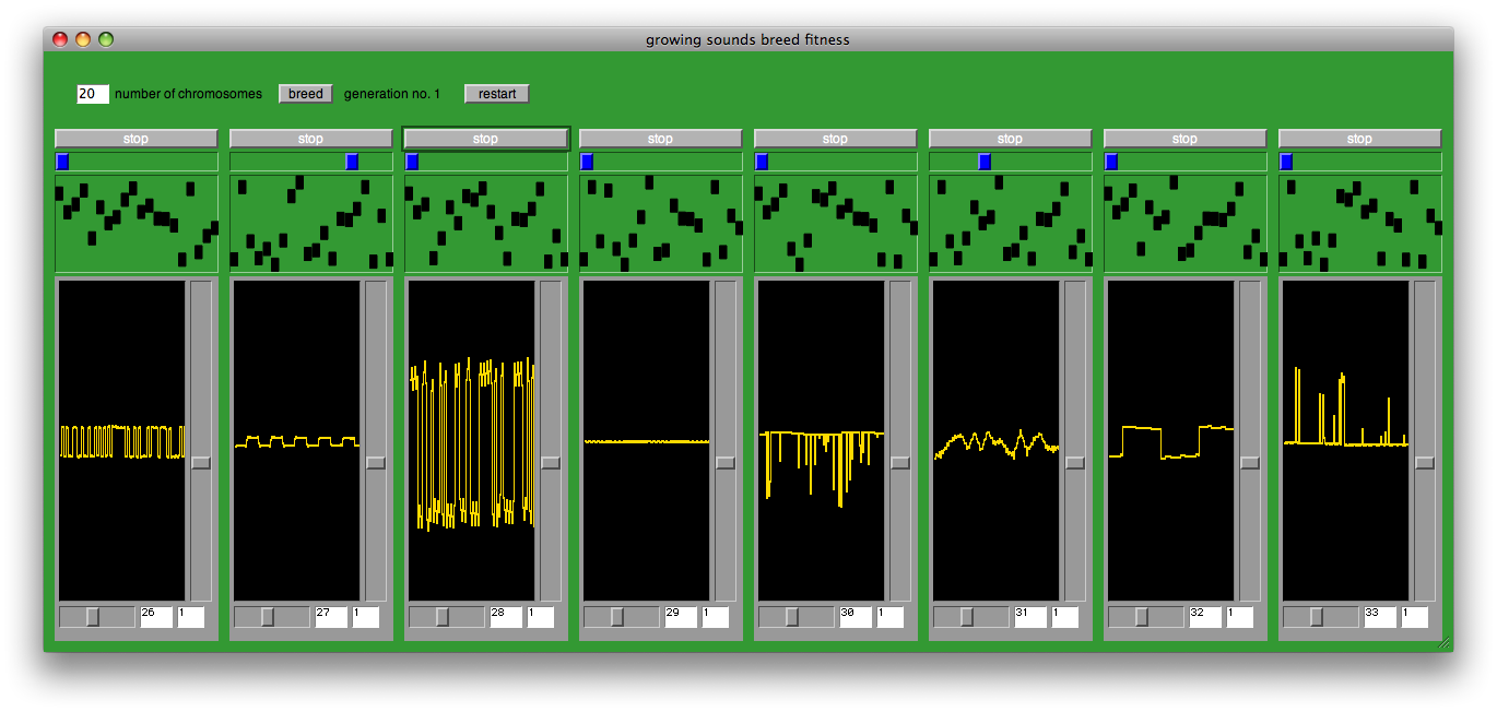 Supercollider F0blog One Of Nine Sequencer Is A File Called Growing Soundsbreedpattern In Which You Can Not Only Breed Synthdefs But Also The Amplitude Pattern They Play Simple